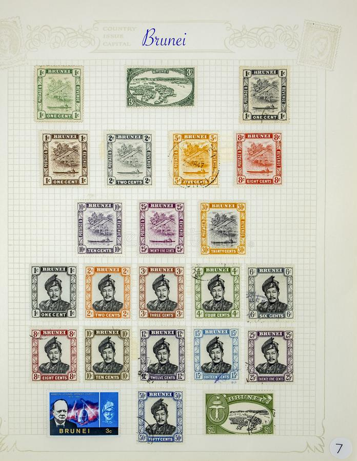 Selos postais maravilhosos de Brunei Darussalam fotografia de stock