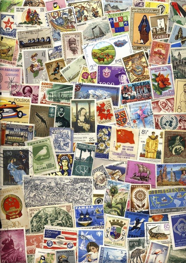 Selos postais mundiais - filatelia imagem de stock royalty free