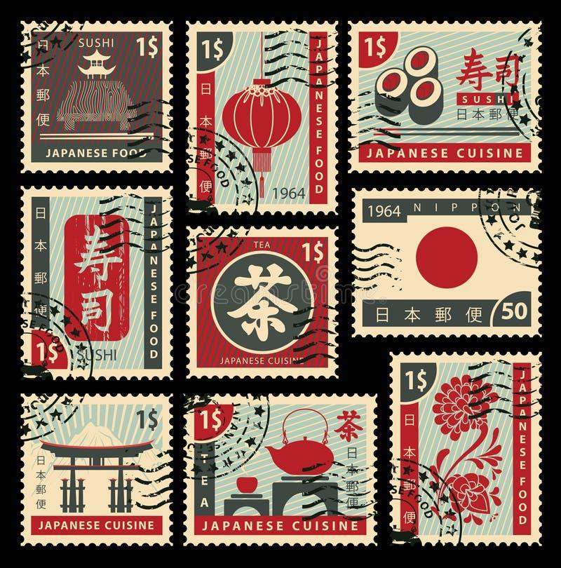 Selos postais na culinária japonesa ilustração stock