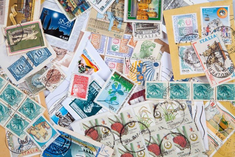 Selos postais velhos fotografia de stock royalty free