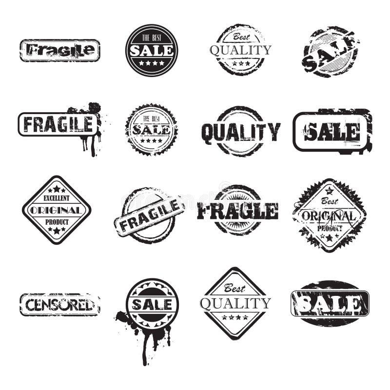 Selos pretos do grunge ilustração royalty free