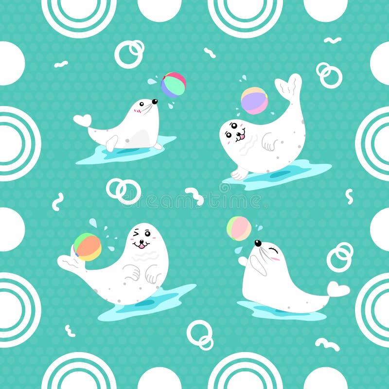 Selos que jogam dos desenhos animados sem emenda do teste padrão da bola a utilização bonito para crianças ilustração do vetor