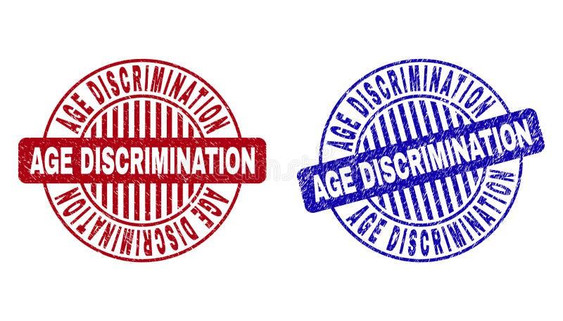Selos redondos riscados da DISCRIMINAÇÃO de IDADE do Grunge ilustração do vetor