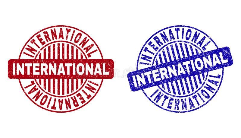 Selos redondos Textured INTERNACIONAIS do selo do Grunge ilustração royalty free