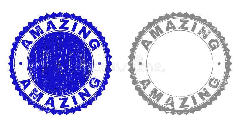 Selos riscados SURPREENDENTES Textured do selo ilustração royalty free