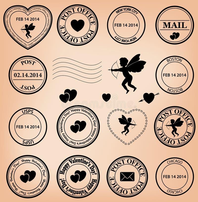 Selos românticos do cargo para o dia de são valentim - vetor ilustração royalty free