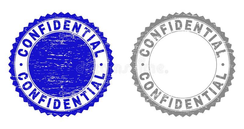 Selos Textured CONFIDENCIAIS do selo do Grunge ilustração stock