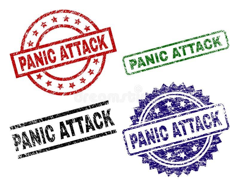 Selos Textured danificados do selo do ATAQUE de PÂNICO ilustração stock