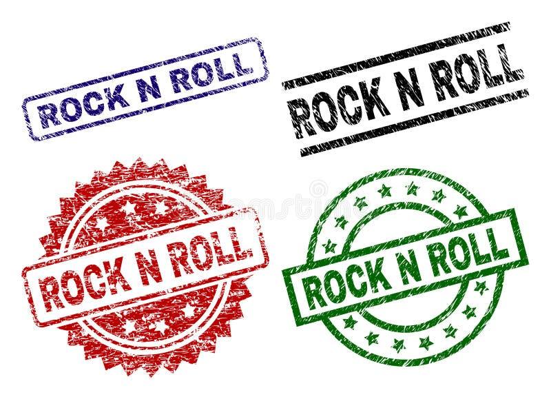 Selos Textured danificados do selo do ROLO da ROCHA N ilustração do vetor