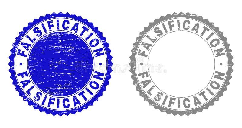 Selos Textured do selo da FALSIFICAÇÃO do Grunge ilustração royalty free