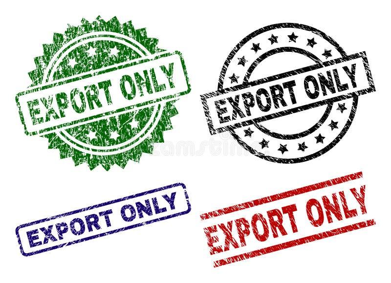 Selos Textured riscados do selo da EXPORTAÇÃO SOMENTE ilustração do vetor