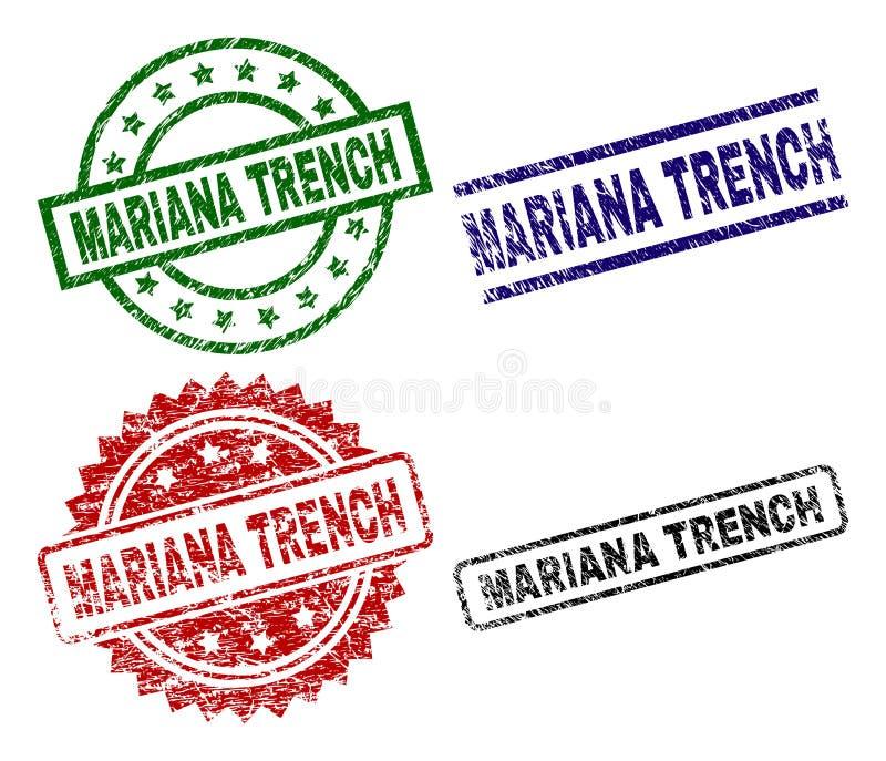 Selos Textured riscados do selo da TRINCHEIRA de MARIANA ilustração royalty free