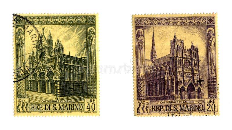 Selos velhos do S. Marino fotos de stock