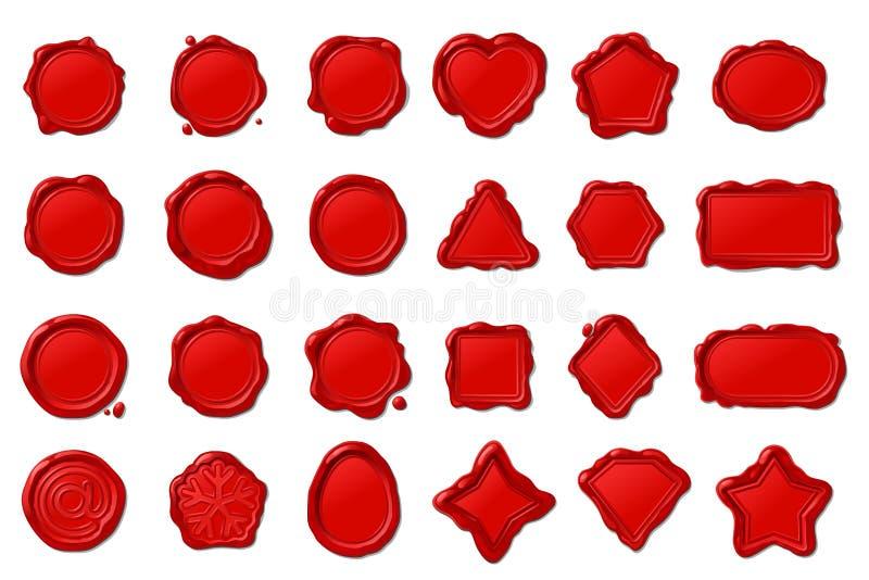 selos vermelhos do selo da cera do vetor ajustados ilustração stock