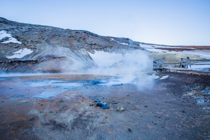 Seltún geotermiczny pole, Krýsuvík, Reykjanes, Iceland obrazy stock
