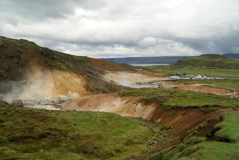 Seltún geothermal area in Reykjanes, Iceland. High temperature geothermal area. Seltún has many mudpots and fumaroles, and minerals deposited from geothermal royalty free stock photos
