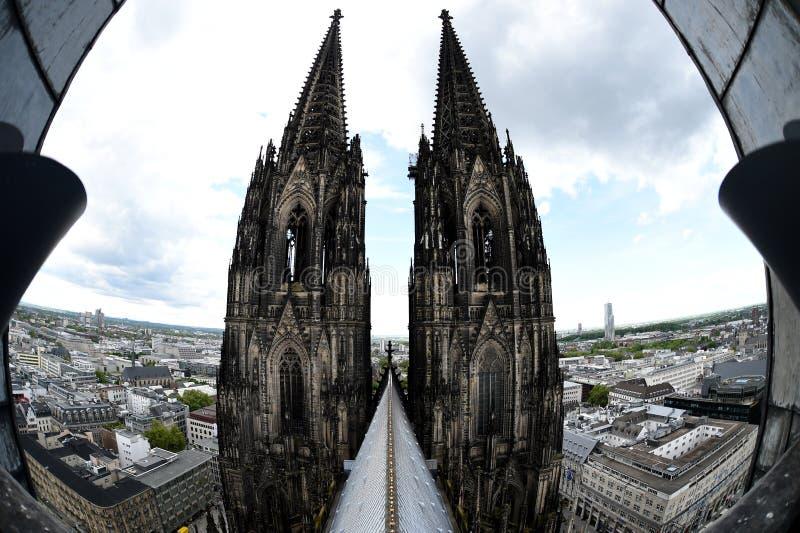 Seltene Ansicht des Köln-Kathedralendachs stockbilder