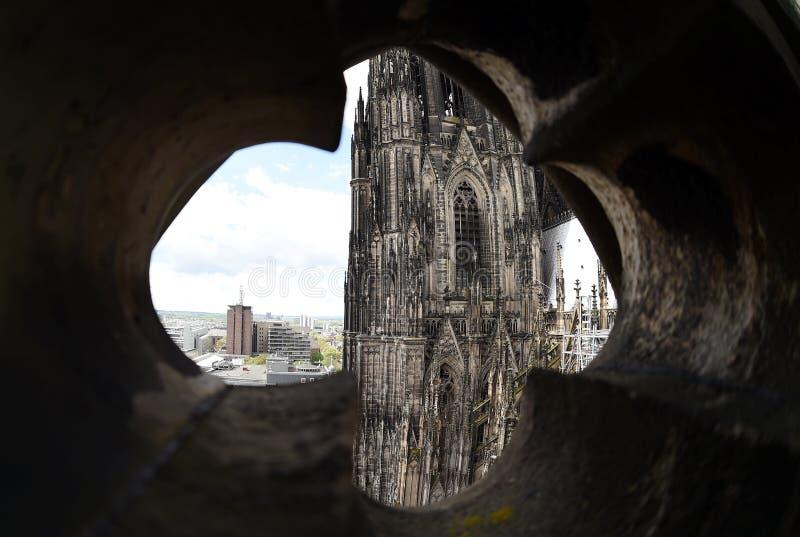 Seltene Ansicht des Köln-Kathedralendachs stockfoto