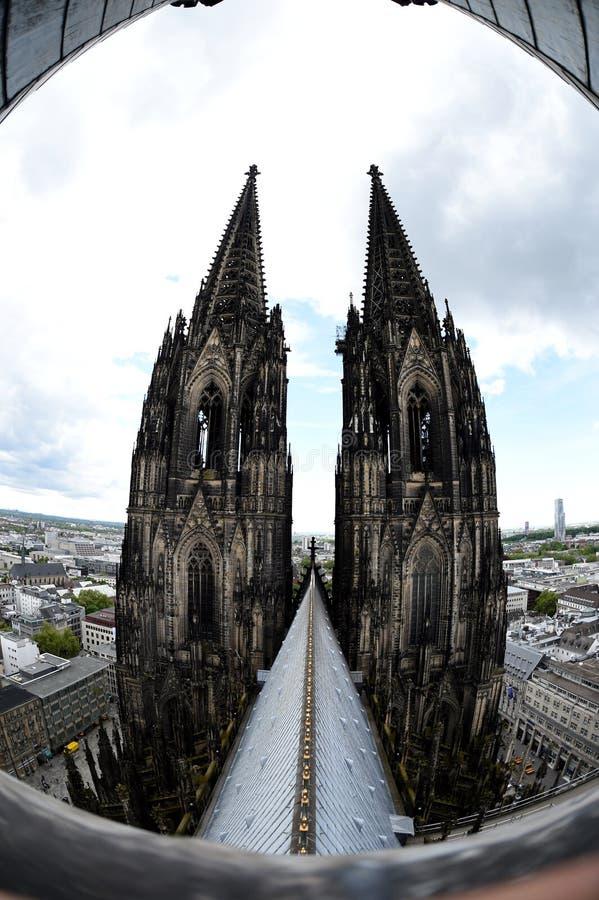 Seltene Ansicht des Köln-Kathedralendachs lizenzfreie stockbilder