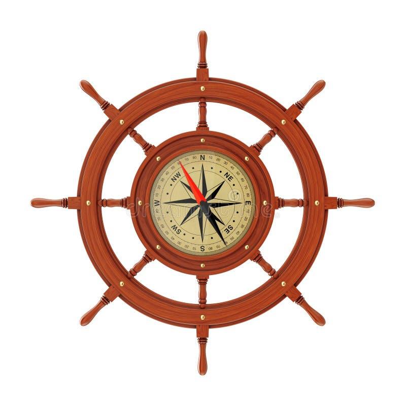 Seltener Kompass in Form von Weinlese-hölzernes Schiffs-Lenkrad lizenzfreie abbildung