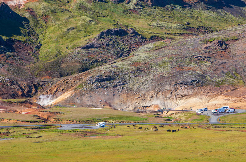 Seltun, geotermiczny teren obraz royalty free