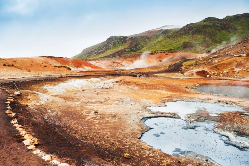 Seltun geotermiczny teren w Iceland zdjęcia royalty free
