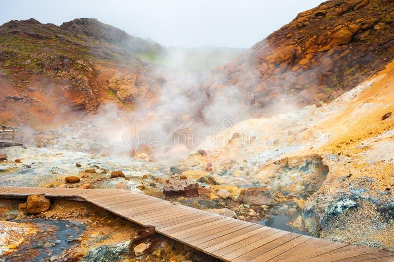 Seltun geotermiczny teren w Krysuvik, Iceland zdjęcia royalty free