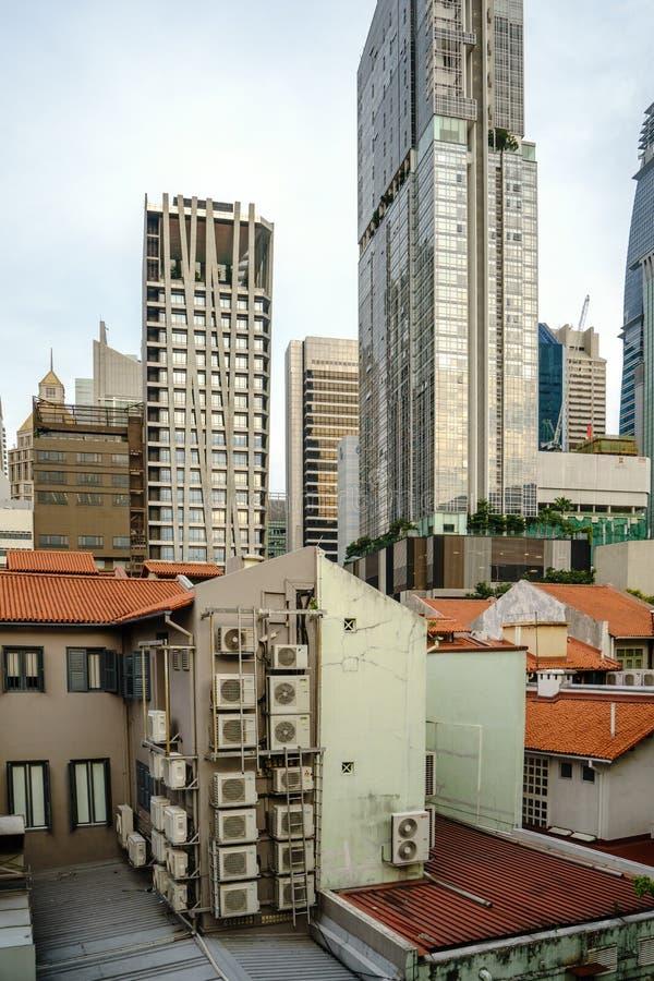 Selva concreta do bairro chinês, Singapura imagem de stock