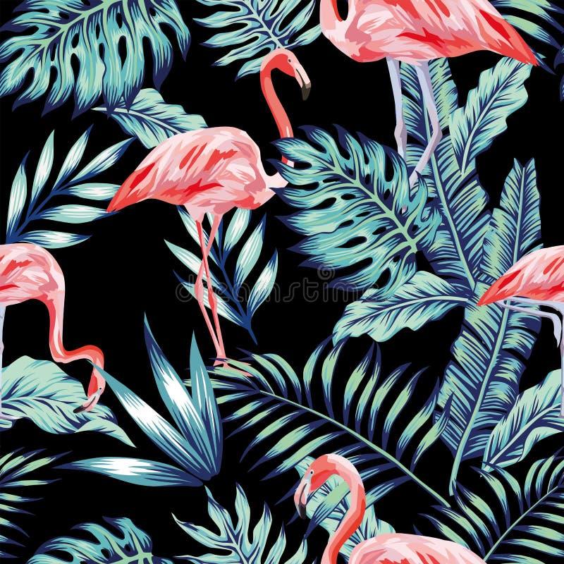 Selva cor-de-rosa do azul do flamingo ilustração royalty free
