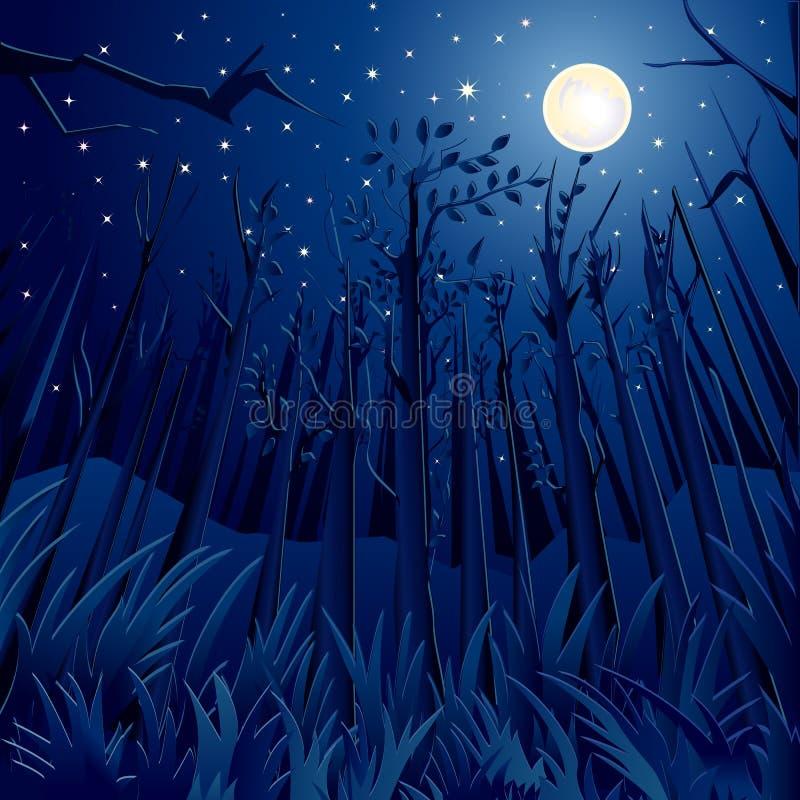 Selva da noite ilustração royalty free
