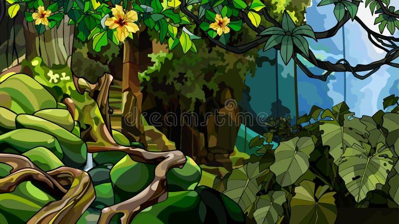 Selva del paisaje con una estructura de piedra demasiado grande para su edad y con las plantas tropicales stock de ilustración