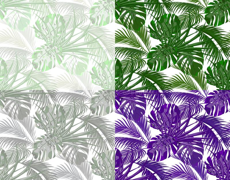 selva Hojas enormes de las palmas tropicales, monstruos, agavos conjunto Inconsútil en diversos colores Aislado en el fondo blanc ilustración del vector