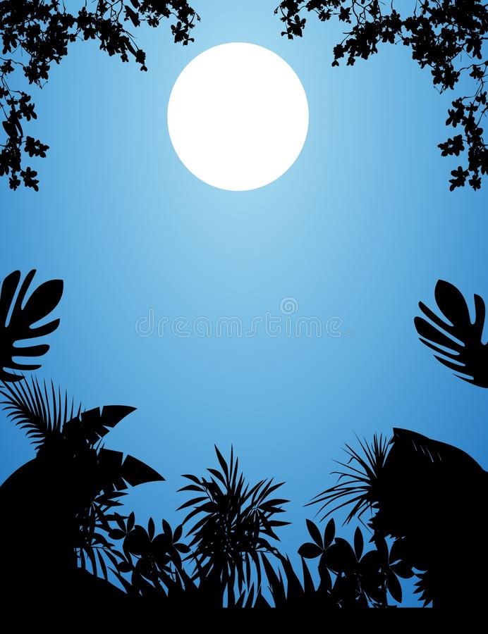 Selva na noite ilustração do vetor