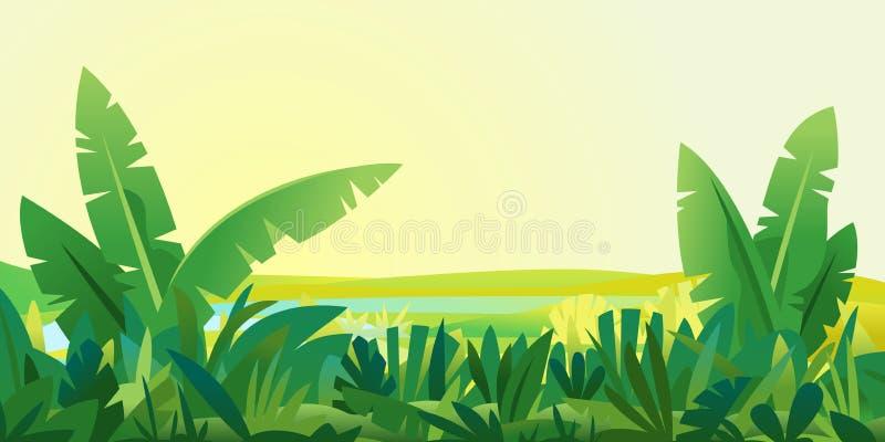 A selva planta o fundo da paisagem ilustração royalty free