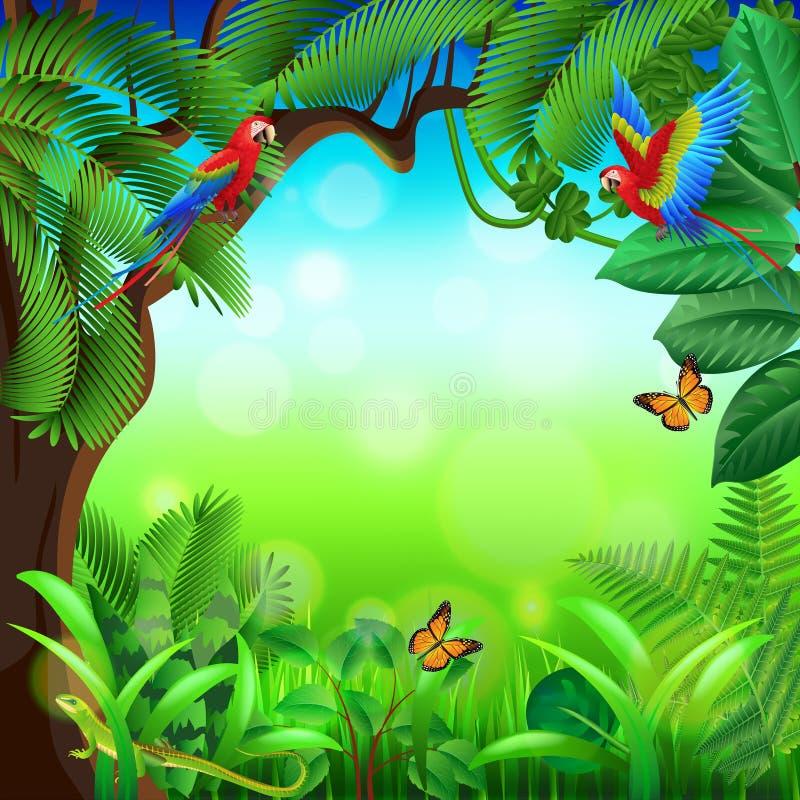 Selva tropical com fundo do vetor dos animais ilustração do vetor