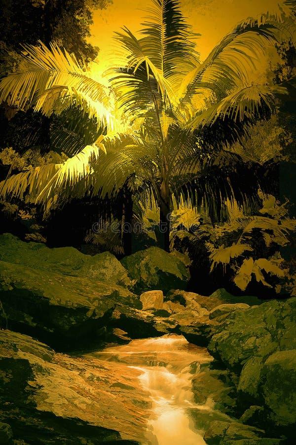 Selva tropical con la cascada stock de ilustración