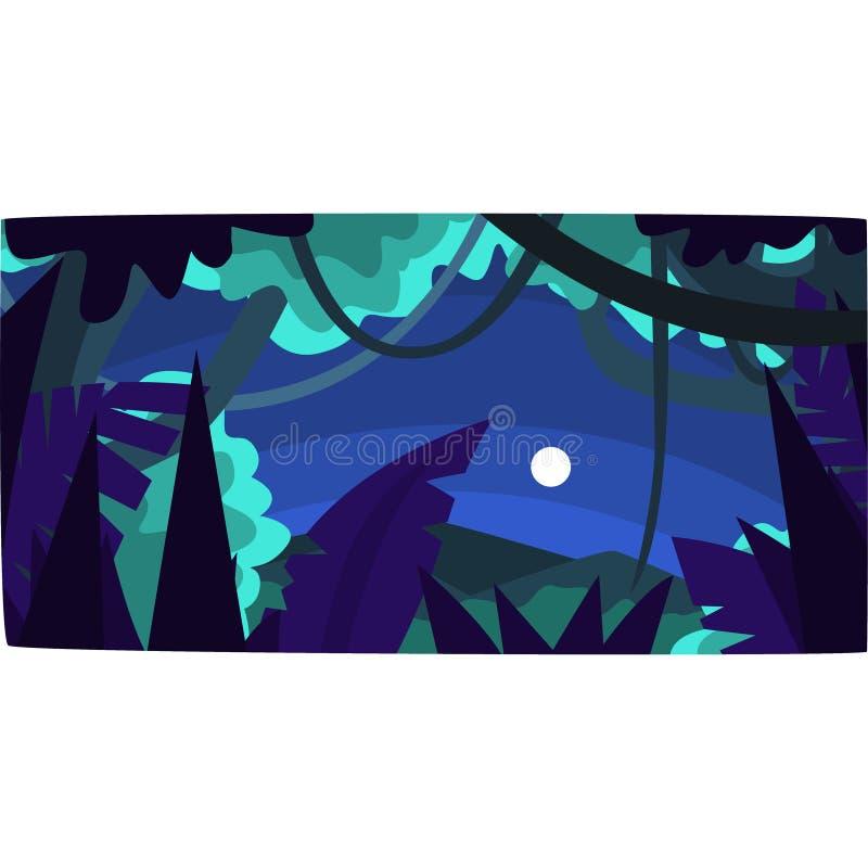 Selva tropical con las siluetas de madera y luna, fondo tropical hermoso del bosque en el ejemplo del vector de la noche libre illustration