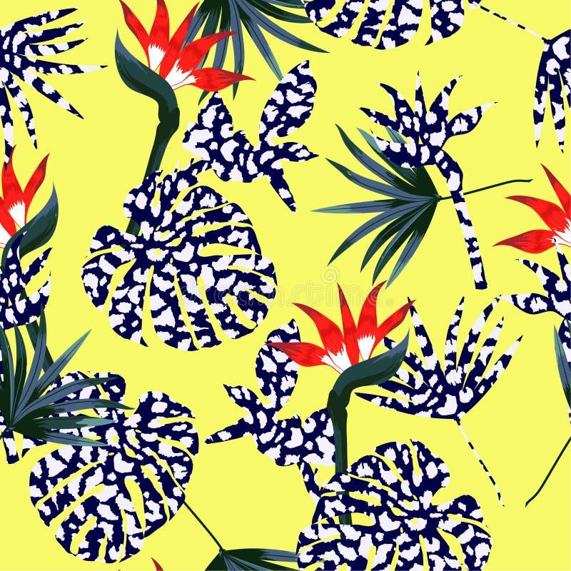 Selva tropical del verano brillante, leopardo de la piel animal de relleno con stock de ilustración