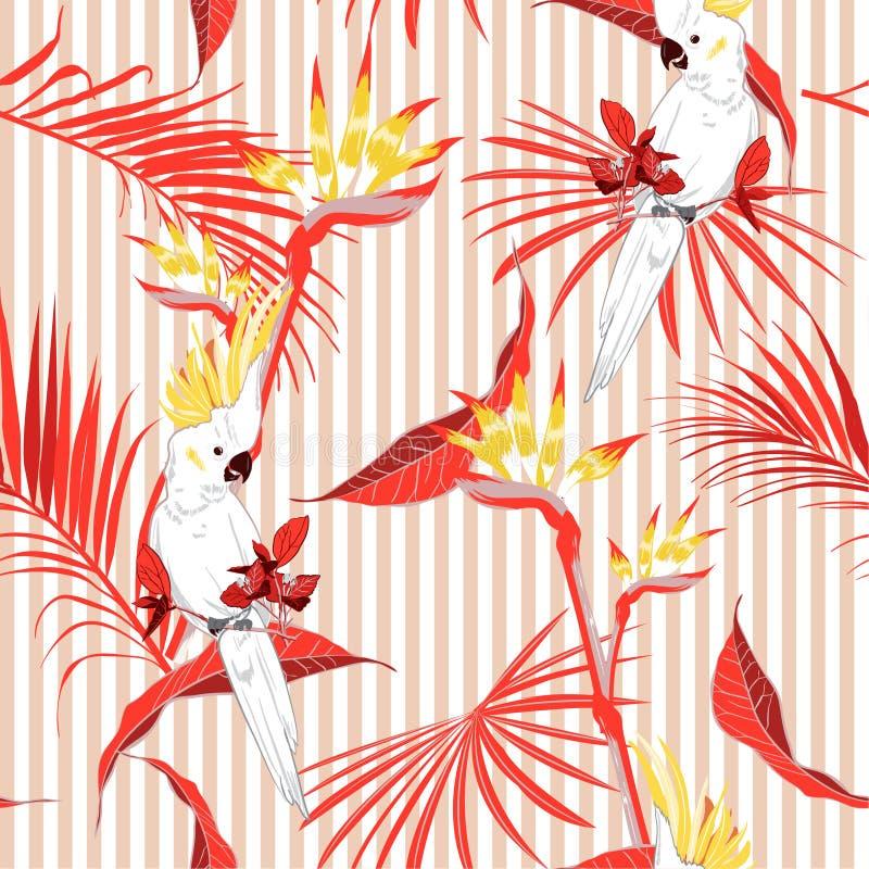 A selva tropical do verão colorido sae com o pássaro branco sae da arara ilustração do vetor