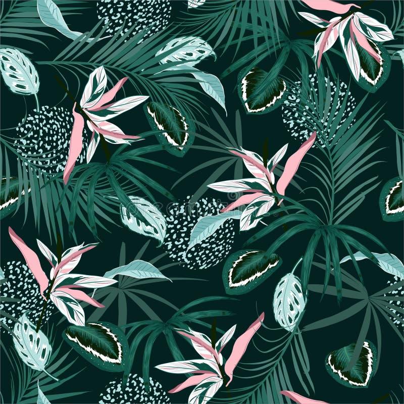 Selva tropical oscura y hojas de palma monótonas, palnts exóticos del modelo inconsútil de moda con el diseño floral de la piel a stock de ilustración