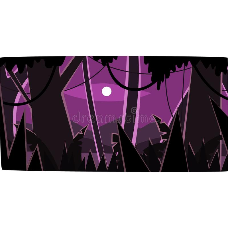 Selva tropical profunda con las siluetas de madera y luna, fondo tropical hermoso del bosque en el ejemplo del vector de la noche stock de ilustración