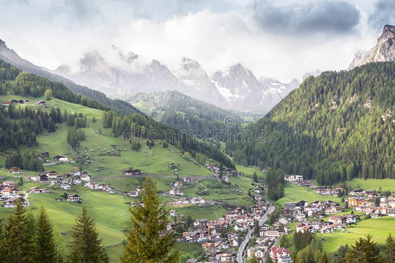 Selva village in South Tirol, Dolomites, Italy. Selva village, Wolkenstein, Gardena Valley in South Tirol, Dolomites, Italy stock image