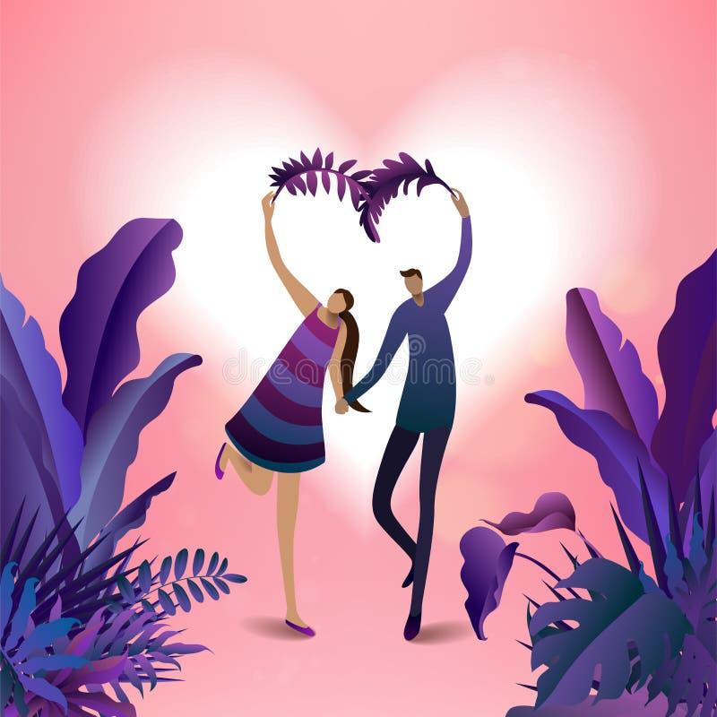 Selva y goce de los viajeros de los pares Libertad y lifestyl activo libre illustration