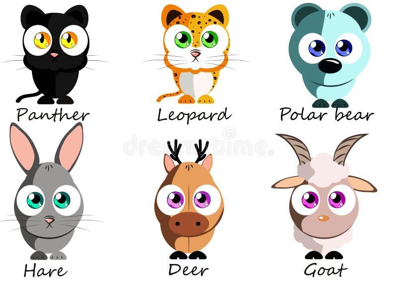 selvagem Animais engraçados ajustados para o uso como etiquetas, nos livros, jogos, fá ilustração do vetor