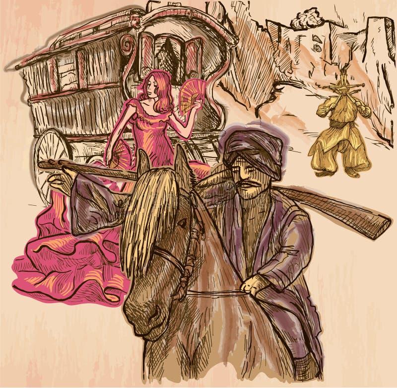 selvagens Uma imagem tirada mão do vetor Linha ilustração da arte ilustração royalty free