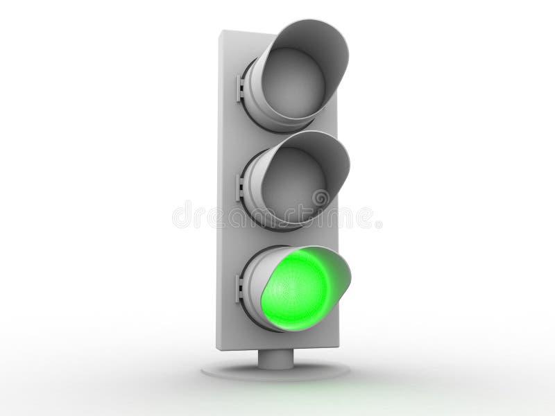 semáforo blanco 3d con una luz verde stock de ilustración