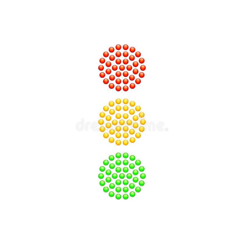 Semáforo de los diodos rojos, amarillos y verdes aislados en el fondo blanco Ilustración del vector libre illustration