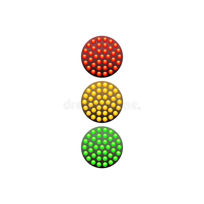 Semáforo de los diodos rojos, amarillos y verdes aislados en el fondo blanco Ilustración del vector stock de ilustración