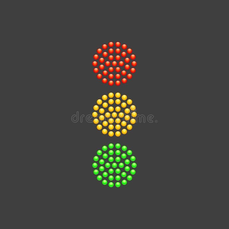 Semáforo de los diodos rojos, amarillos y verdes aislados en fondo gris Ilustración del vector stock de ilustración