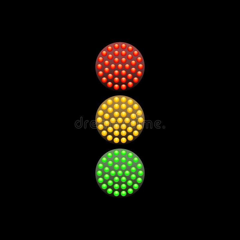 Semáforo de los diodos rojos, amarillos y verdes aislados en fondo negro Ilustración del vector stock de ilustración